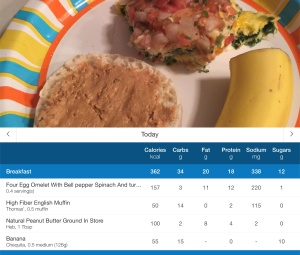 A meal sample - with the log from MyFitnessPal with the nutrition info.